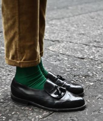 ダークグリーン靴下